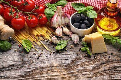 Fototapeta Vegetables,herbs and spices for Italian food
