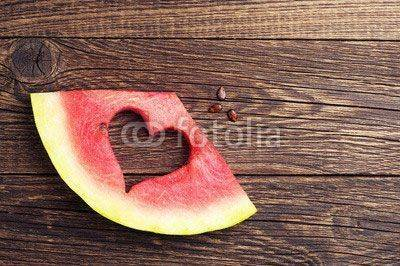 Fototapeta Slices of watermelon with cut in the shape of heart