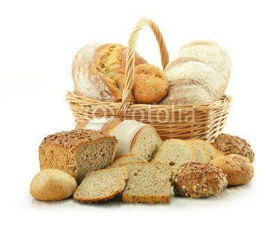 Fototapeta Composition with bread and rolls isolated on white