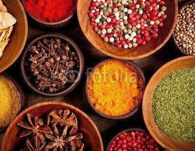 Fototapeta Various kind of spices in wooden bowls