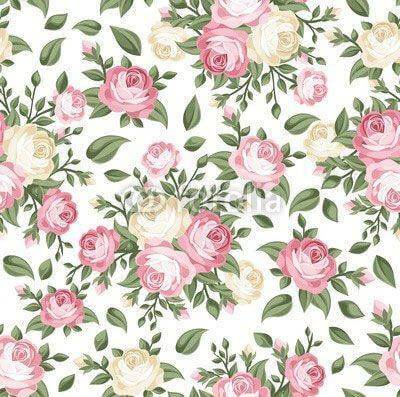 Fototapeta Seamless pattern with pink and white roses. Vector illustration.