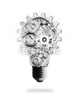 Fototapeta light bulb design by cogs and gears