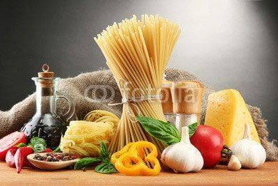 Fototapeta Pasta spaghetti, vegetables and spices,