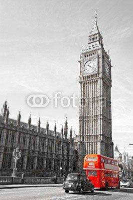 Fototapeta The Big Ben, the House of Parliament and the Westminster Bridge