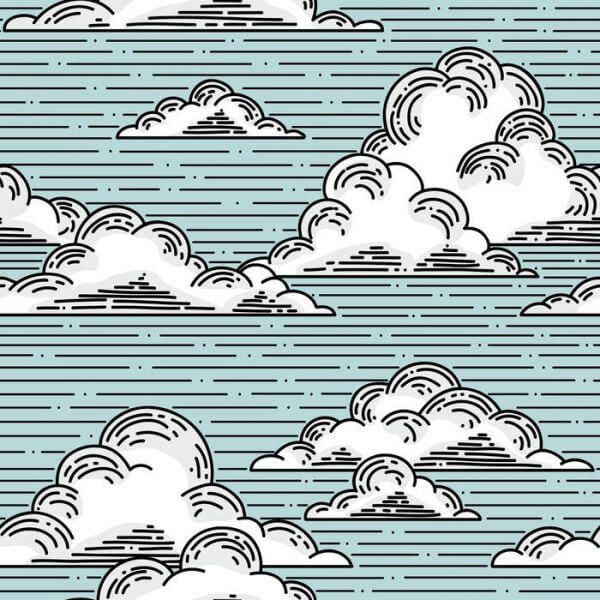 Fototapeta Clouds seamless pattern hand-drawn illustration. Vector background